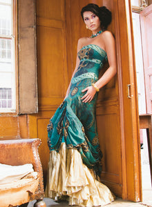 sonascouture - Jade Green And Gold Dress W059