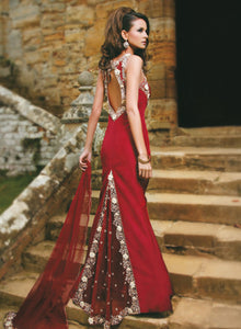 sonascouture - Maroon Trail Gown W099