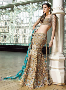 sonascouture - Gold Cutwork Lengha W130