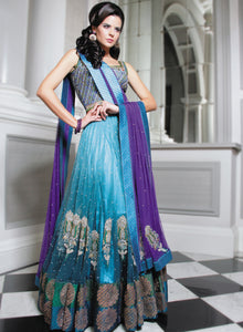 Purple and Teal Gathered Lengha W150 - Sonas Haute Couture