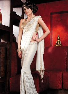 sonascouture - Striking Ivory And Gold Saree W157