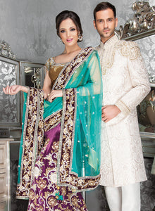 sonascouture - Bold Jade And Purple Bridal W205