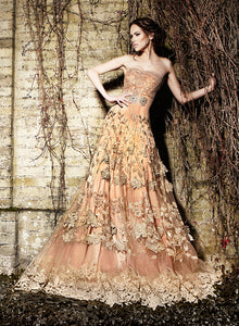 Golden Peach Gown W241 - Sonas Haute Couture