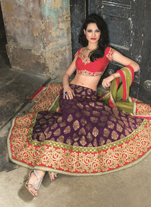 Purple, Red And Mehendi Bridal W283 - Sonas Haute Couture