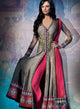 sonascouture - Grey And Fuchsia Jacket Anarkali W289