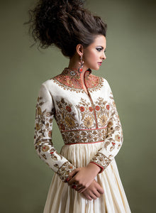 sonascouture - Ivory And Red Anarkali W301