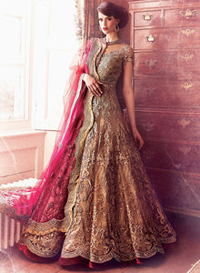 sonascouture - Gold Maroon Anarkali Gown W307