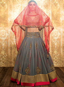 Grey And Pink Floral Lengha W309 - Sonas Haute Couture