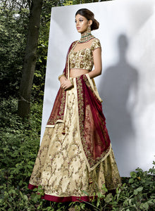 sonascouture - Gold Maroon Bridal W341