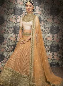 Peach and Gold Bridal W368A - Sonas Haute Couture