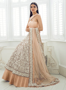 Nude Peach And Ivory Lengha W371 - Sonas Haute Couture