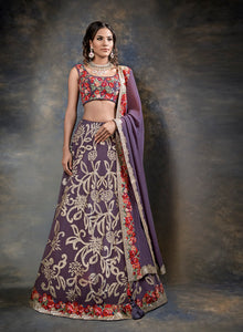 sonascouture - Purple Multi-Coloured Thread Work Bridal W376