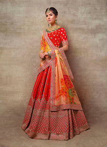 sonascouture - Red Bridal With Floral Dupatta W387