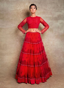 sonascouture - Modern Red Tiered Lengha W391