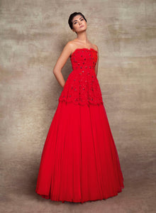 sonascouture - Red Peplum Gown W393