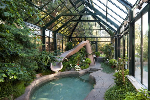 pool inside a greenhouse
