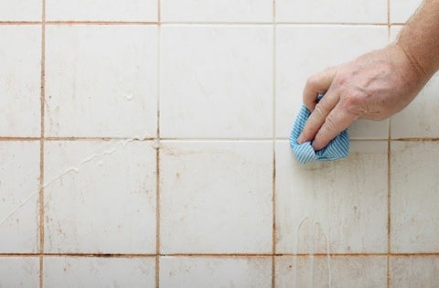tiles being scrubbed