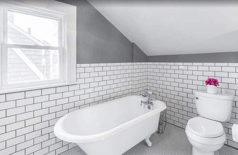 black and white penny tiles being used