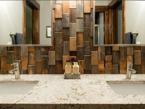 luxurious wood-themed tile sink