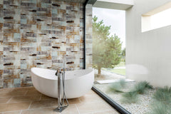 stone-tile, nature-themed bathroom