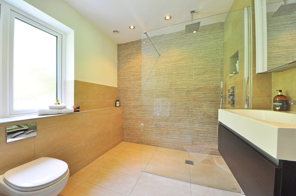 glass tile shower with curbless entry