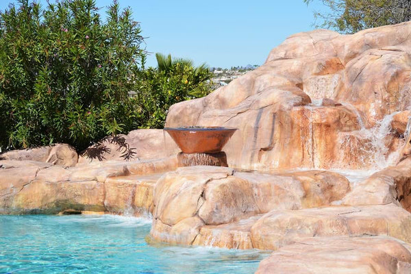 large water feature with large pool tiles