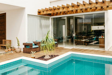 patio area with pool