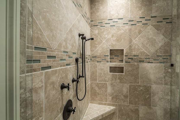 shower tile in curbless shower