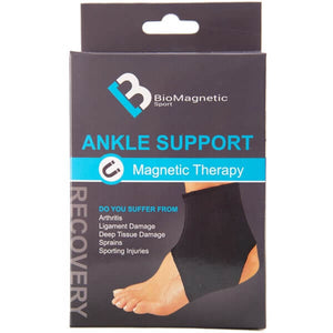 Bio Magnetic Ankle Support packaging that features the black ankle support and lists the possible ailments it can help with, such as: arthritis, ligament damage, deep tissue damage, sprains, sporting injuries.