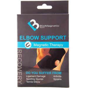 The Bio magnetic Elbow Support's packaging, the packaging shows an image of the product being worn along with possible ailments that could benefit from a magnetic elbow support. Such as ligament damage, sporting injuries, tennis elbow, arthritis, sprains.