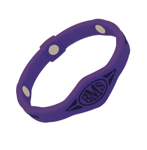 The Bio Magnetic Bracelet in purple, featuring a BMS symbol in Black at the front and 3 of the 6 total therapeutic magnets are visible.