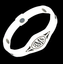 Load image into Gallery viewer, The Bio Magnetic Bracelet in white, featuring a BMS symbol in black at the front and 3 of the 6 total therapeutic magnets are visible.