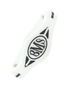 The Bio Magnetic Bracelet in white with a white background. The BMS symbol is very visible and stark black against the white background.