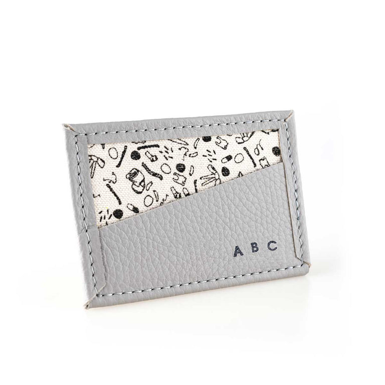 CUSTOM Bitsy Biz Card Holder in cream puff gray
