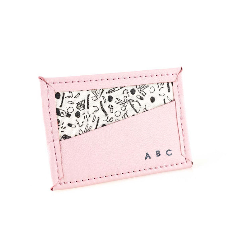 CUSTOM Bitsy Biz Card Holder in salt water taffy pink