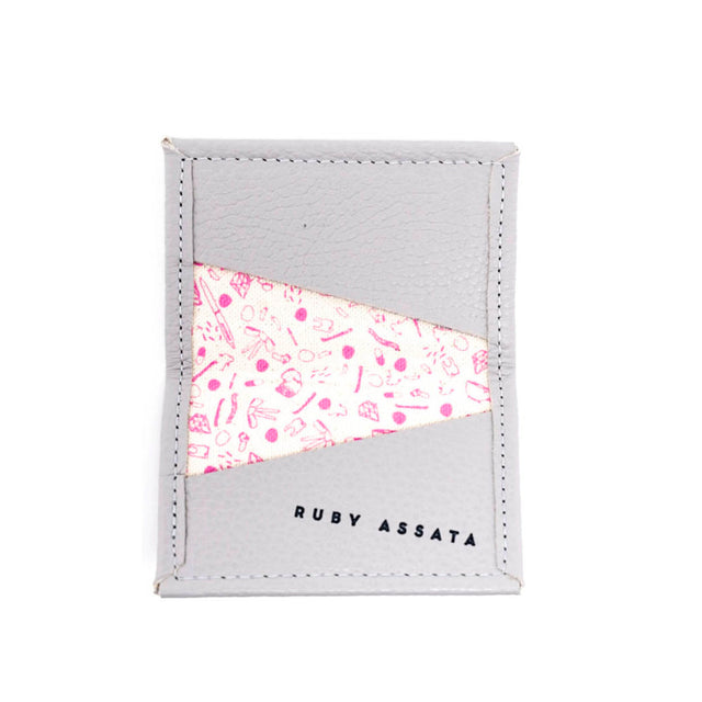 Cream Puff Gray / Hot Pink Tiny Wallet