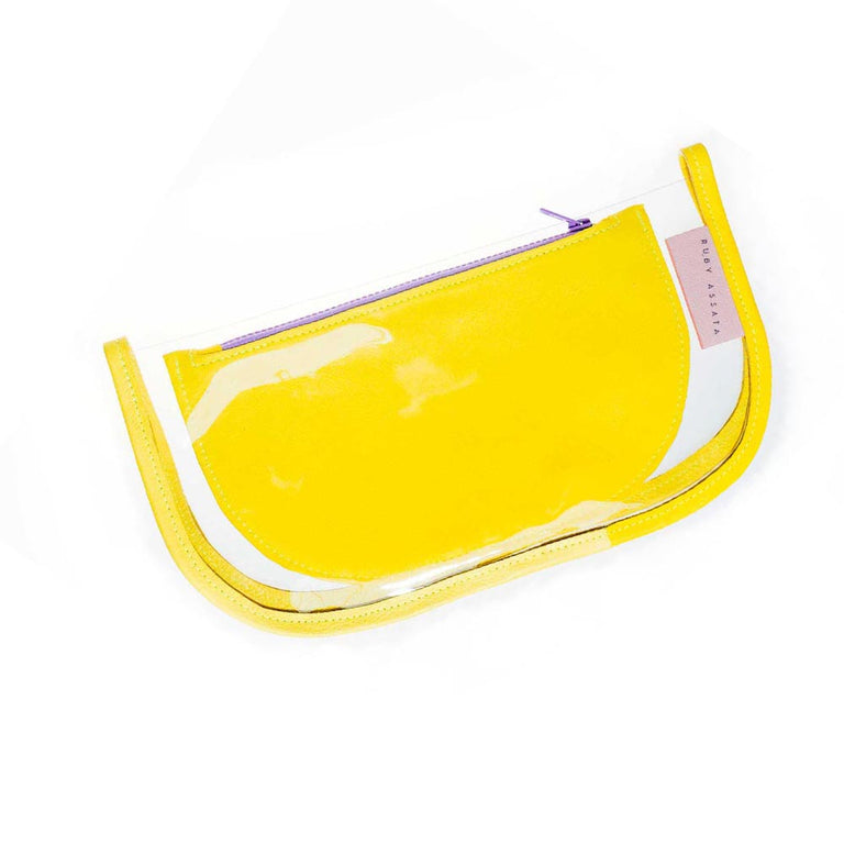 Pocket Protector Bag In Clear and yellow