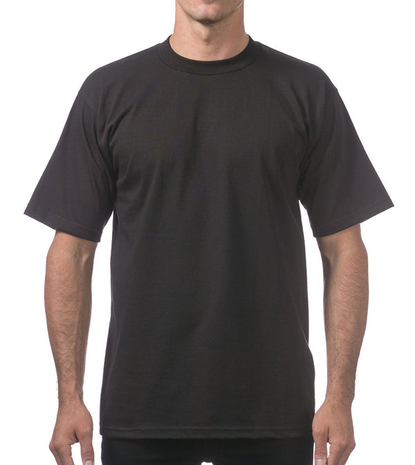 MEN PRO CLUB HEAVYWEIGHT COTTON SHORT SLEEVE CREWNECK - BLACK