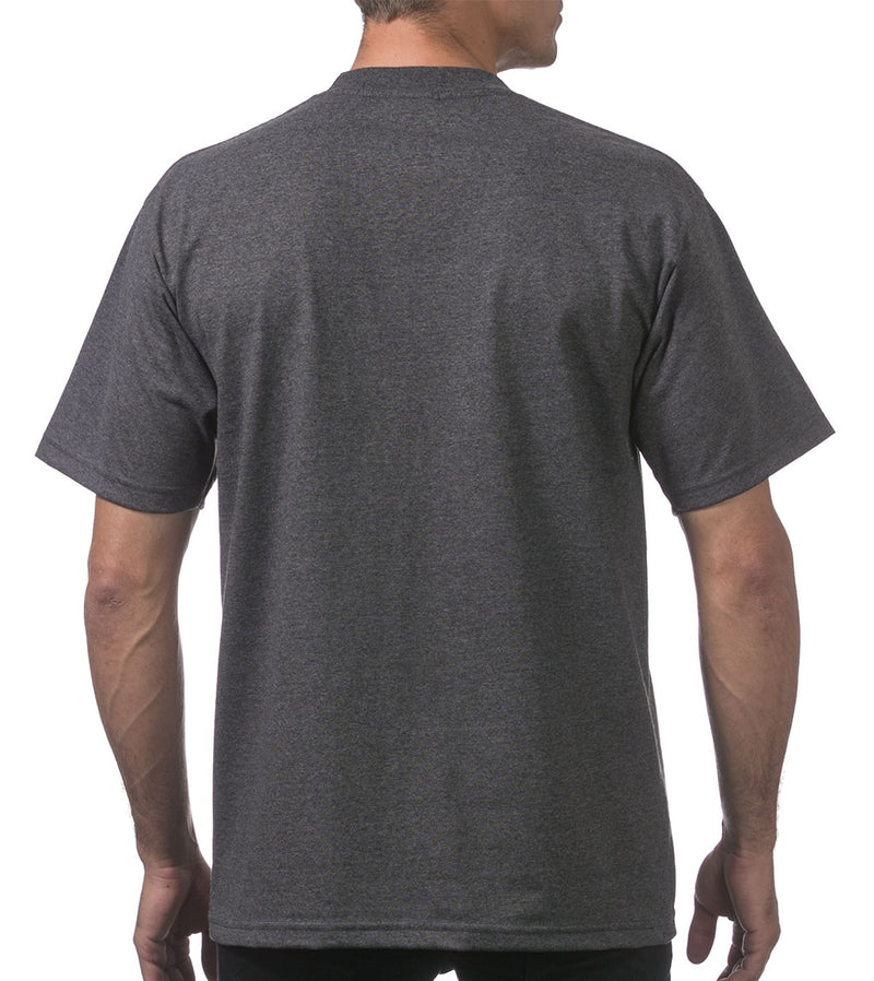 MEN PRO CLUB HEAVYWEIGHT COTTON SHORT SLEEVE CREWNECK - CHARCOAL