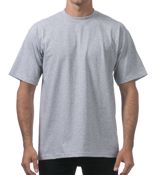 MEN PRO CLUB HEAVYWEIGHT COTTON SHORT SLEEVE CREWNECK - HEATHER GREY