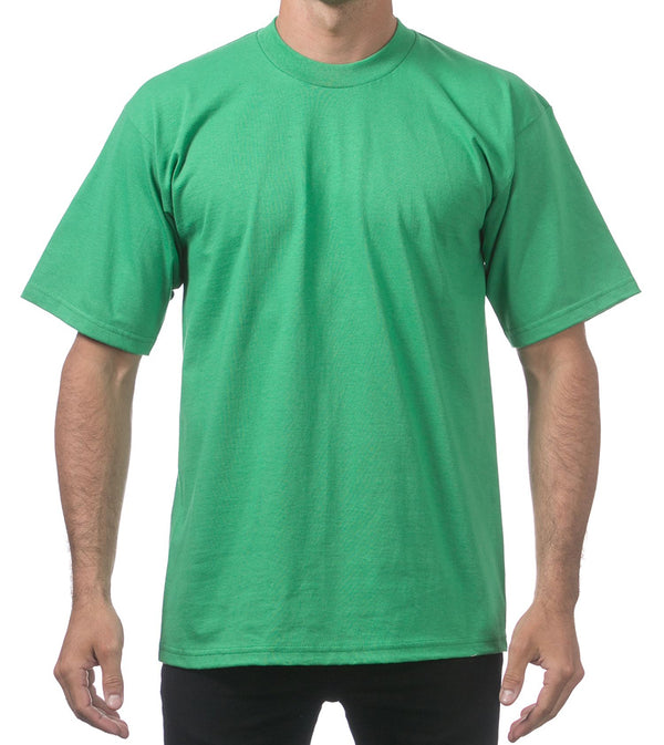 MEN PRO CLUB HEAVYWEIGHT COTTON SHORT SLEEVE CREWNECK - KELLY GREEN