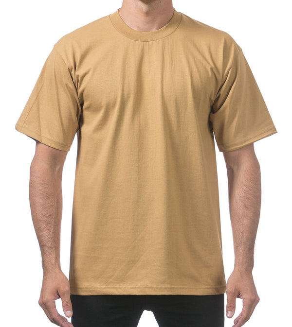 MEN PRO CLUB HEAVYWEIGHT COTTON SHORT SLEEVE CREWNECK - MUSTARD