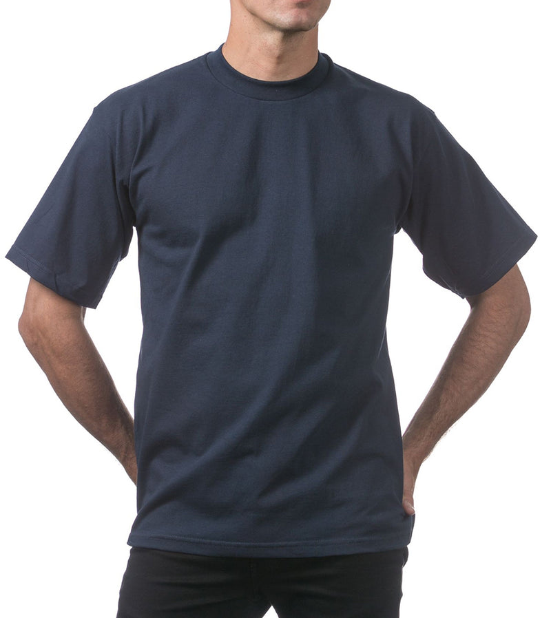 MEN PRO CLUB HEAVYWEIGHT COTTON SHORT SLEEVE CREWNECK - NAVY