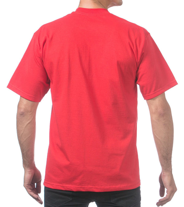MEN PRO CLUB HEAVYWEIGHT COTTON SHORT SLEEVE CREWNECK - RED