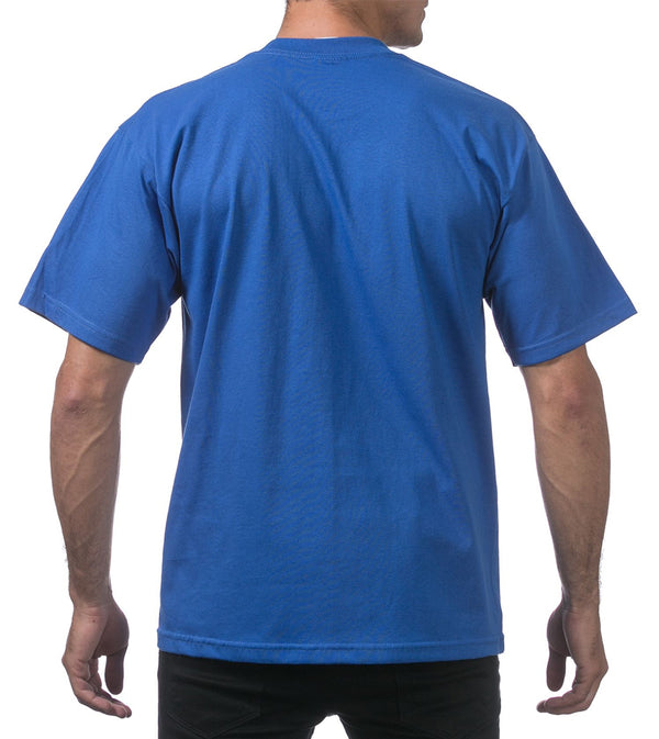 MEN PRO CLUB HEAVYWEIGHT COTTON SHORT SLEEVE CREWNECK - ROYAL BLUE