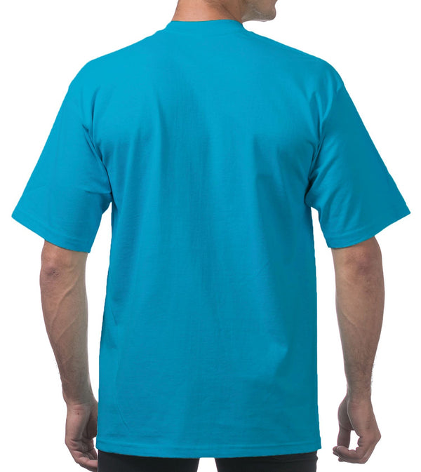MEN PRO CLUB HEAVYWEIGHT COTTON SHORT SLEEVE CREWNECK - TURQUOISE