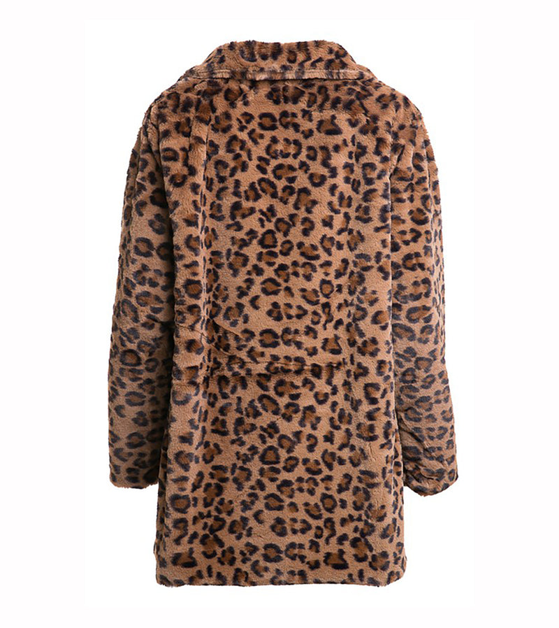 WOMEN LEOPARD FAUX FUR JACKET WITH POCKET