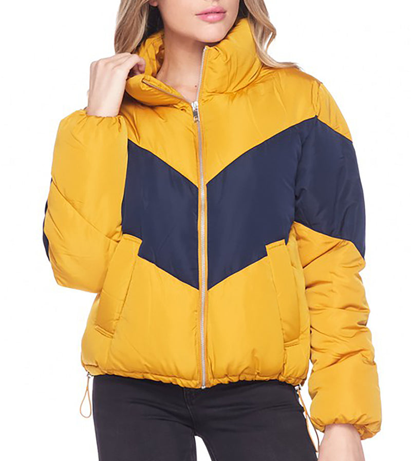 WOMEN COLOR BLOCK HIGH NECK PUFFER JACKET - MUSTARD / NAVY