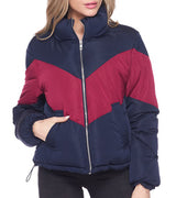 WOMEN COLOR BLOCK HIGH NECK PUFFER JACKET - NAVY / BURGUNDY