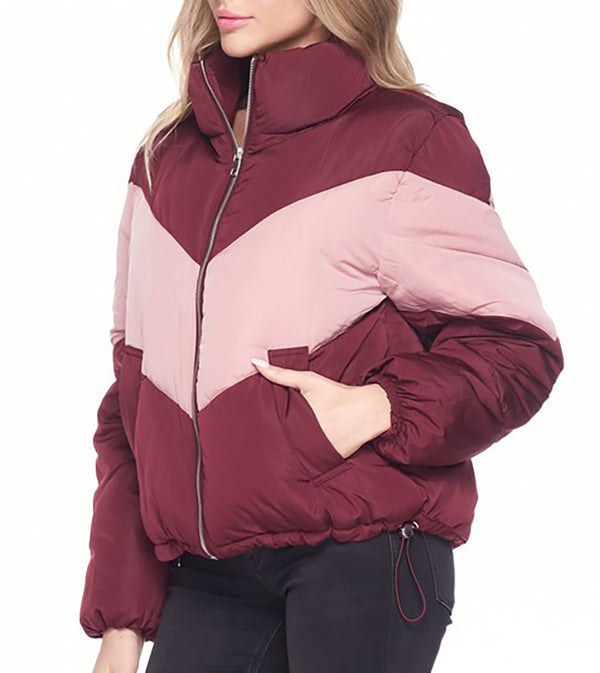WOMEN COLOR BLOCK HIGH NECK PUFFER JACKET - PINK / BURGUNDY